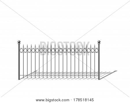 Metal fence. Isolated on white background. 3D rendering illustration. Sketch style.