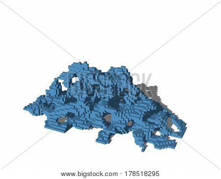 Abstract pixelated ruins. Isolated on white background. 3D rendering illustration.