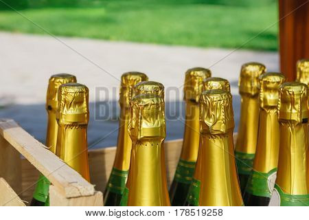 Wedding reception, box with champagne or wine. Ready for event