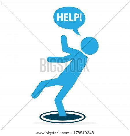 Man falling into hole icon warning symbol illustration