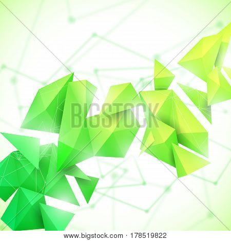 Low poly polygon mesh grid and 3d shapes on unfocused white background