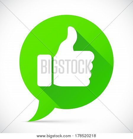 Round flat icon with thumb up symbol