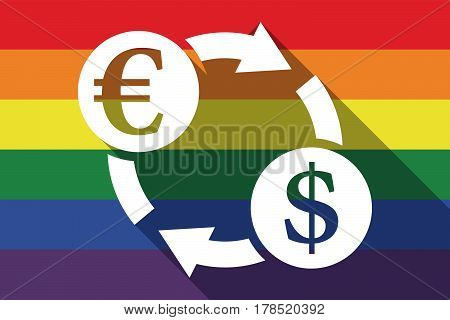 Long Shadow Gay Pride Flag With  An Euro Dollar Exchange Sign