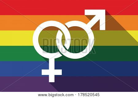 Long Shadow Gay Pride Flag With  An Interlaced Female An Male Sexual Signs