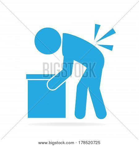 Man carrying box and injured of the back pain. person injury symbol