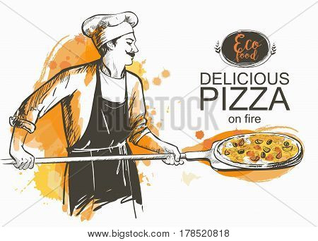 baker in uniform with pizza baked in wood fire oven Cook in the kitchen with shovel in hands Hot pizza rustic Italian style. Olives mushrooms and cheese. Hand-drawn vector illustration line sketch.