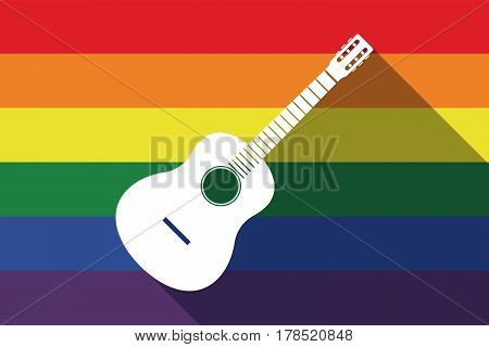 Long Shadow Gay Pride Flag With  A Six String Acoustic Guitar