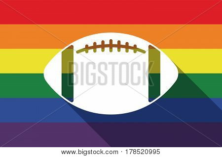 Long Shadow Gay Pride Flag With  An American Football Balloon