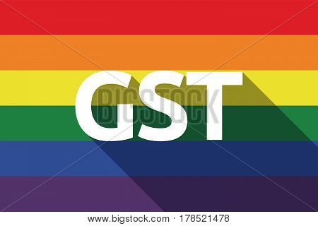 Long Shadow Gay Pride Flag With  The Goods And Service Tax Acronym Gst