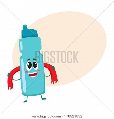 Funny protein shaker bottle character with human face rubbing itself with a towel, cartoon vector illustration with place for text. Smiling protein shaker bottle character, sport equipment