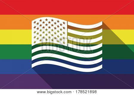 Long Shadow Gay Pride Flag With  The Unites States Of America Waving Flag