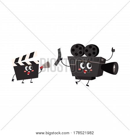 Film camera and cinema clapper board character with smiling human faces, cartoon vector illustration isolated on white background. Movie, cinema shooting camera and clapperboard characters, mascot