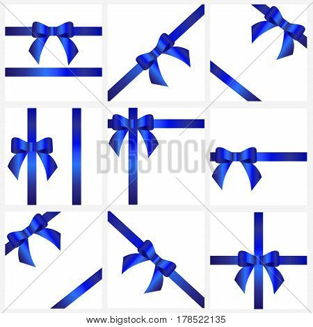 set blue ribbons and bows for gift decoration. beautiful collection of festive ribbons with bow for decoration for the holiday. vector illustration