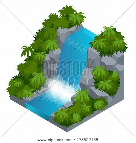 Waterfall in tropical forest. Build your own infographics collection. Vector isometric illustration.