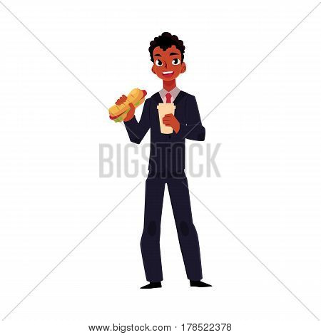 Black African American businessman eating sandwich, holding coffee cup, lunch break concept, cartoon vector illustration isolated on white background. Black businessman, manager eating lunch on the go