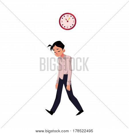 Young tired, upset, exhausted businessman feeling a mess, dragging feet home after hard working day, cartoon vector illustration isolated on white background. Businessman, employee sad, upset, tired