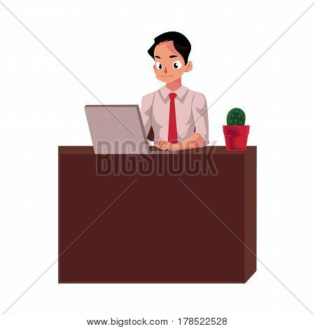 Young businessman working on computer, sitting at office desk, looking at the monitor, cartoon vector illustration isolated on white background. Businessman, worker, employee working in office