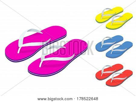 Isometric Slippers set of female with Multicolored slippers isolated on white background. Slippers for infographics and design.