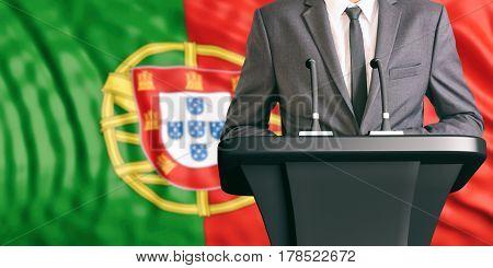 Speaker On Portugal  Flag Background. 3D Illustration