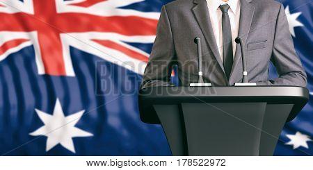 Speaker On Australia Flag Background. 3D Illustration