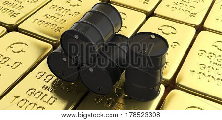 Oil Barrels On Gold Bullions Background. 3D Illustration