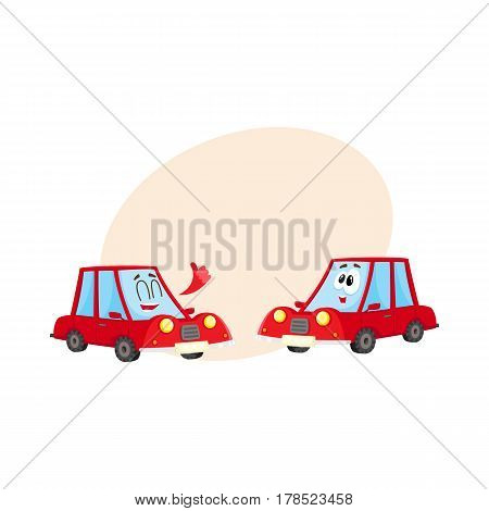Two funny red car characters, one showing thumb up, another surprised, cartoon vector illustration with place for text. Couple of funny red car characters, mascots, giving thumb up and awed