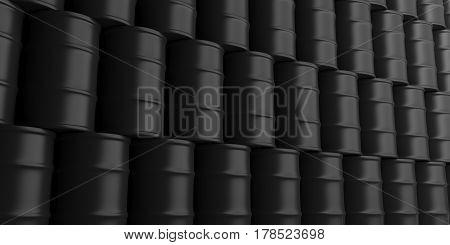 Oil Barrels Background. 3D Illustration