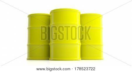 Oil Barrels On White Background. 3D Illustration