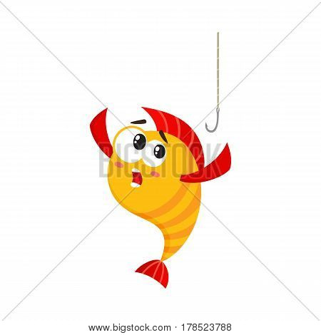 Funny golden, yellow fish character with human face scared of fishing hook, cartoon vector illustration isolated on white background. Yellow fish character, mascot too smart to get caught on hook