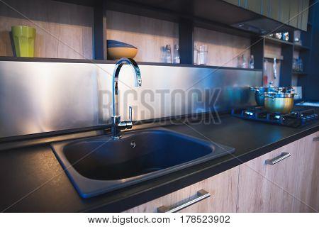 Modern kitchen sink kitchen part Selective focus