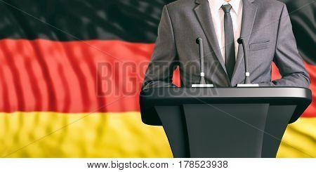Speaker On Germany Flag Background. 3D Illustration