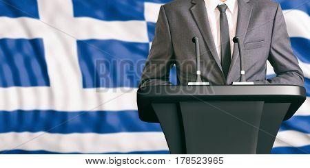 Speaker On Greece Flag Background. 3D Illustration