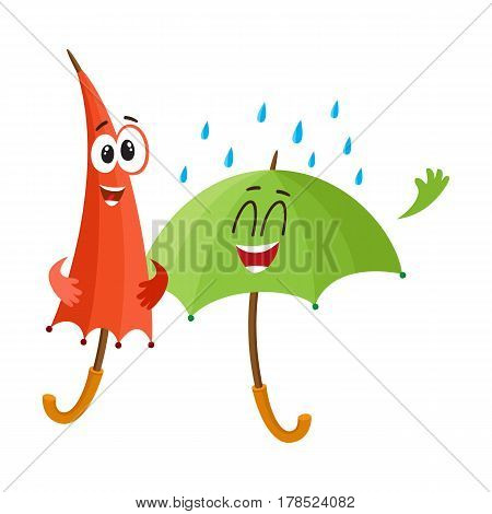 Two funny umbrella characters with human faces, open and closed, under rain, cartoon vector illustration isolated on white background. Couple of funny umbrella, parasol characters, happy with rain