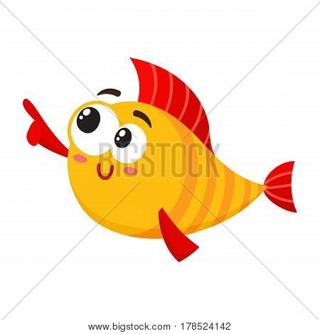Funny smiling golden, yellow fish character pointing and looking at something, cartoon vector illustration isolated on white background. Crazy yellow fish character, mascot pointing to the left