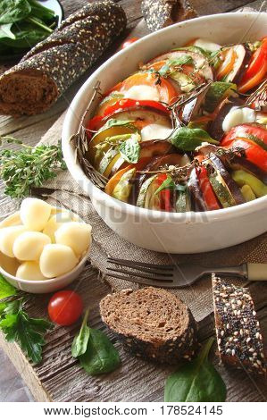 Ratatouille with peppers zucchini eggplant tomatoes and Provencal herbs cheese