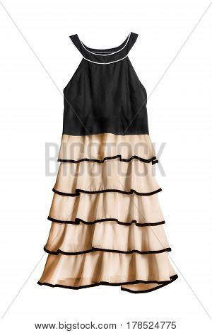 Elegant halter dress with chiffon ruches on white background