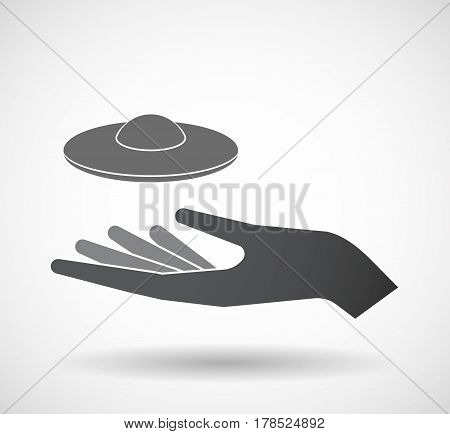 Isolated Hand With  A Flying Saucer Ufo