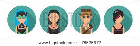 Set icon different subcultures people. Cybergoth, emo, steampunk, goth. Vector flat illustration on turquoise circle.