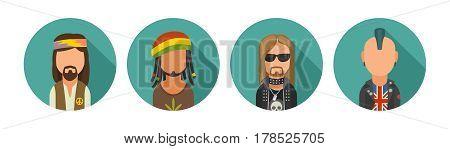 Set icon different subcultures people. Hippy, rastaman, metalhead, punk. Vector flat illustration on turquoise circle.