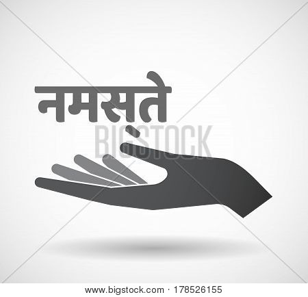 Isolated Hand With  The Text Hello In The Hindi Language