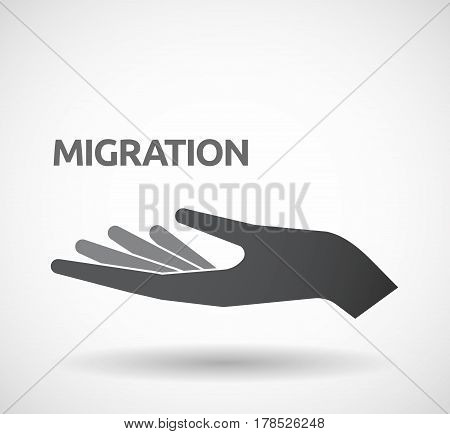 Isolated Hand With  The Text Migration