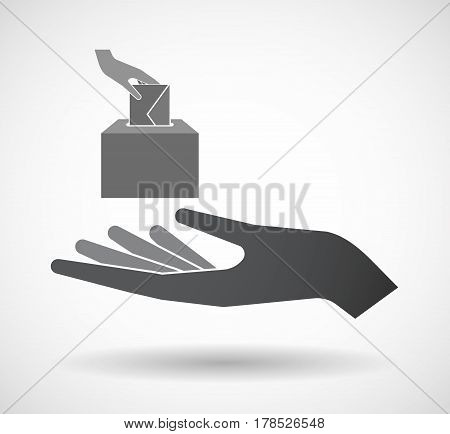 Isolated Hand With  A Hand Inserting An Envelope In A Ballot Box