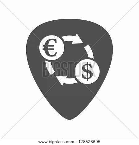 Isolated Guitar Plectrum With  An Euro Dollar Exchange Sign