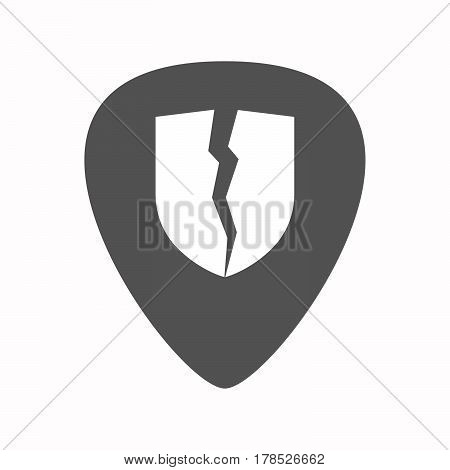 Isolated Guitar Plectrum With  A Broken Shield