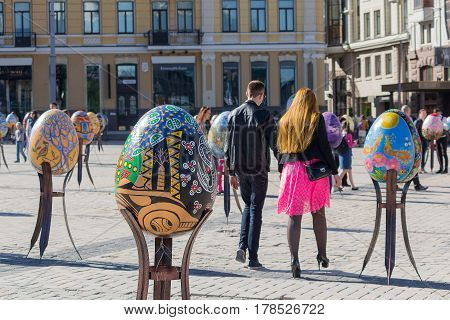 Kiev Ukraine - April 29 2016: Installation for the Easter is decorated with its symbol the Easter Egg on April 29 in Kiev