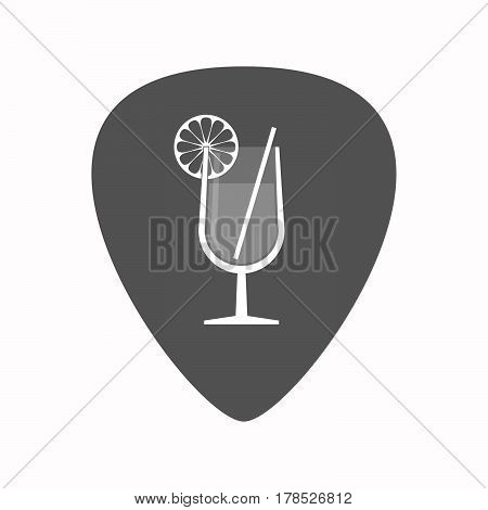Isolated Guitar Plectrum With  A Cocktail Glass With A Slice Of Lemon And A Straw