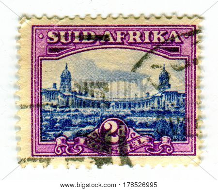 GOMEL, BELARUS, 24 MARCH 2017, Stamp printed in Suid Africa shows image of the Union Buildings form the official seat of the South African government, circa 1947.