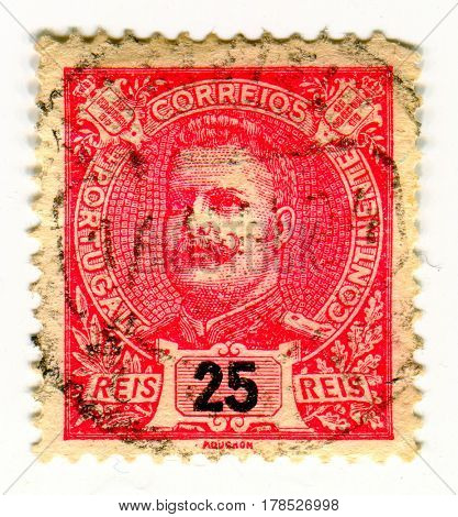 GOMEL, BELARUS, 24 MARCH 2017, Stamp printed in Portugal shows image of the Dom Carlos I of Portugal was the King of Portugal and the Algarves, circa 1895.