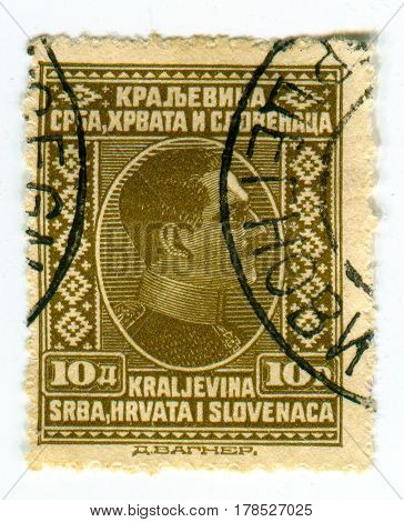 GOMEL, BELARUS, 24 MARCH 2017, Stamp printed in Yugoslavia shows image of the Alexander I served as a prince regent of the Kingdom of Serbia, circa 1925.