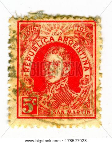 GOMEL, BELARUS, 23 MARCH 2017, Stamp printed in Argentina shows image of the Jose Francisco de San Martin y Matorras, was an Argentine general and the prime leader, circa 1926.